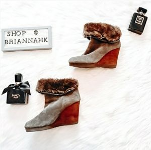 Lucky Brand Torynn gray faux fur ankle booties
